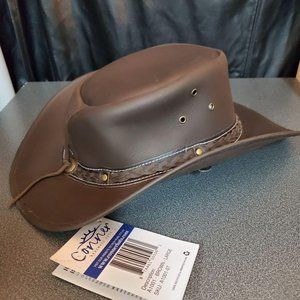 CONNER Down Under Leather Hat Brown Large